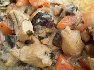 Potrawka z kurczaka z panierowanym oscypkiem